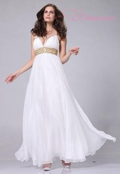 Free Shipping Chiffon Formal White Greek Style Dress Prom Wedding Full Length mermaid wedding dress(China (Mainland))