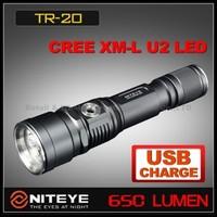 1PC NITEYE TR20 USB Rechargeable Aluminum 650 Lumens CREE XM-L U2 LED Waterproof IPX-8 Tactical Flashlight+Holster+USB Cable