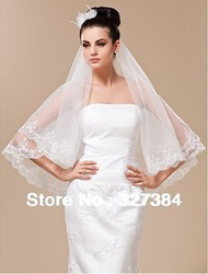 CX-TS017 Marvelous 1 Layer Fingertip Length Wedding Veil Wedding Accessories White Bridal Veil Free Shipping(China (Mainland))