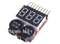 Free shipping 2 in1 1-8s Lipo Battery Voltage Tester Low Voltage Alarm New + Register free shipping