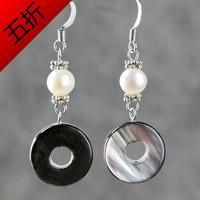 Earrings female natural black shell pearl jewelry geometry ring crystal drop earring