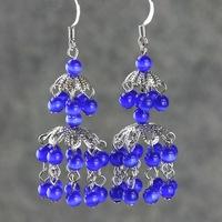 Vintage tassel - blue eye earrings lantern long design drop earring