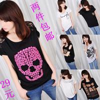 free shipping 2013 Summer women's loose medium-long plus size batwing sleeve modal 100% T-shirt short-sleeve cotton strapless