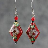 Cloisonne earrings red festive bride earring drop earring