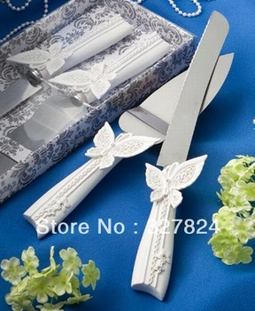 Hot Sale Butterfly Design Cake Knife/Server Set for Wedding Party Stuff Supplies Wholesale Retail Free Shipping Hot Sale