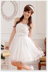 Most Popular Party Semi Formal Prom Strapless Teens Ladies Girls Dress Off White/Cre(China (Mainland))