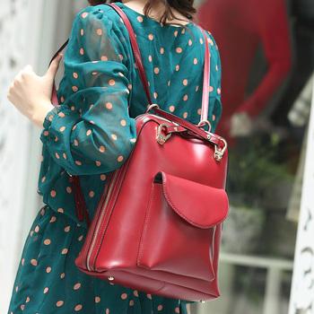 2013 backpack female genuine leather one shoulder double-shoulder women's dual-use handbag preppy style leather backpack bag