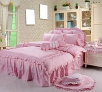 Rustic 100% cotton princess bed piece skirt set piece set small bedding