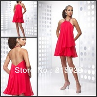 Promotion Simple Cocktail Party Dress Halter Sleeveless Chiffon Backless Mini Above Knee JW083