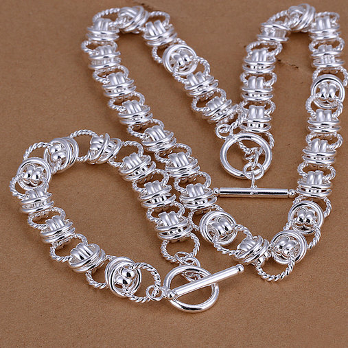 LJ-S037 free shipping,wholesale double circle TO silver necklace+bracelet,high quality,fashion jewelry sets,factory price(China (Mainland))