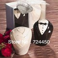 Free shipping High Quality Price Wholesale 28pcs=14boxes Wedding gift the bride and groom Seasoning Shakers salt pepper shaker(China (Mainland))