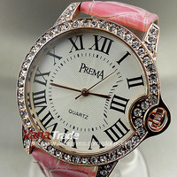 2014 NEW PINK LEATHER HOUR CLOCK STYLISH CRYSTAL QUARTZ LADIES WOMEN WRIST WATCH FREE SHIPPING