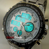 2013 HOT SELL STAINLESS STEEL MILITARY  WATCHES DUAL CHRONOGRAPH ANALOGUE DIGITAL HOURS DATE MED LCD MEN WRIST WATCH
