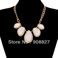 Hot Fashion New White Unique Attractive Exquisite Gold Plated Chunky Choker Bib Statement Necklaces for women,Free Shipping