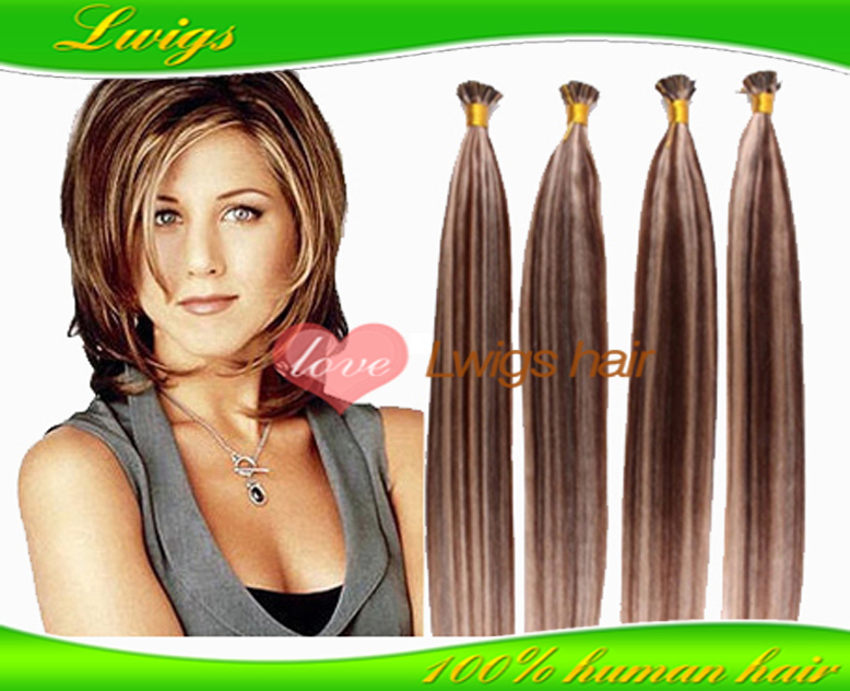 Rachel/Jennifer Aniston Celebrity Hairstyle pre bonded Keratin Nail tip mix color remy human hair extension 100pieces/lot(China (Mainland))