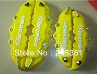 4pcs Yellow 3D Brembo ABS 1 pair Front + 1 pair Rear Disc Brake Caliper Cover Universal Kit Set