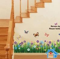 Free Shipping 50*70cm Butterfly flowers wall sticker cartoon wall stickers wallpaper removable waterproof wall pvc sticker