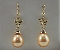 Free shipping Fashion jewelry 12x16mm 18K Yellow Butterfly Gold GP Yellow Sea Shell Pearl Hook Earring