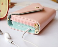 whhoelsale 5pcs/lot wallet for iphone 4s, 5, sumsung I9100, min bags, cell phone wallet with crown element 6 colors available