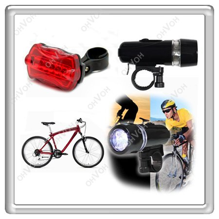 WHOLESALE! LED Bicyle Bike Head Light + Rear Safety Flashlight Outdoor Light Lamp Free Shipping(China (Mainland))