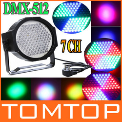 Professional AC 90-240V 127 RGB LED Effect Light DMX512 7 Channel Par Lights DMX 512 Disco DJ Party Stage Light EU Or US Plug(China (Mainland))