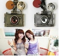 (antique silver) alloy camera leather rope long necklace+ Free Shipping