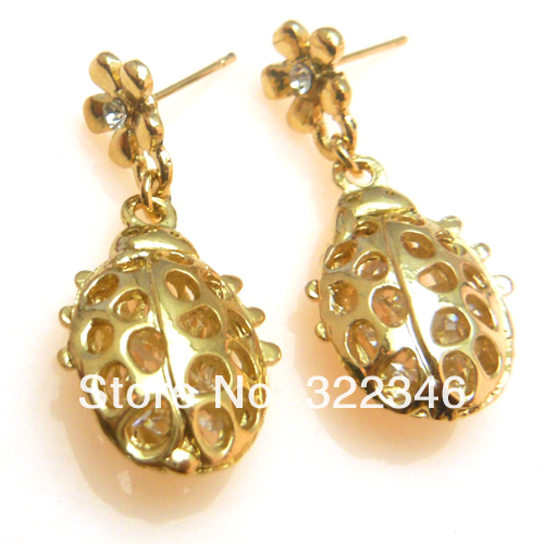 2013 New Fashion Hollow Out Crystal Dangle Earrings For Women Rhinestone Gold Plated Drop Earrings Jewelry Animal Earring(China (Mainland))