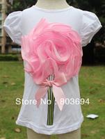 wholesale B2W2 baby girls t shirt short sleeve shirt With big flower for summer wear 5pcs/lot free shipping TS08