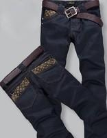 2013 free shipping Korea Men's Jeans Slim Fit Classic denim Jeans Trousers Straight Leg Blue Size 28~38 Button New