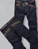 2013 free shipping Korea Men's Jeans Slim Fit Classic denim Jeans Trousers Straight Leg Blue Size 28~38 Button New