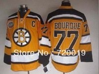 wholesale Bruins Ice Hockey Jersey  77 Ray Bourque  yellow  Jerseys Free Shipping
