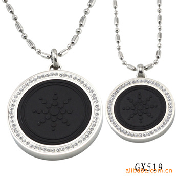 Health jewelry wholesale  inlay magnet energy couple necklace volcanic stone quantum pendant GX549