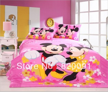 3/4pcs Sweet Happy Mickey & Minnie Mouse Bedding Set Bed Linen Duvet Cover Set 100% Cotton Textile in Twin/Full/Queen, Pink