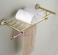 Free Shipping Wholesale / Retail Luxury Bathroom Golden Wall Mounted Towel Racks Shelf Towel Holder Ti-PVD Bathroom Accessories