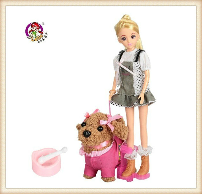 Free Shipping Lelia Vinyl Dolls Kids Educational Fashion Girl And Electronic Lovely Pet Dog Set Best Fashion Dolls Toys For Kids(China (Mainland))