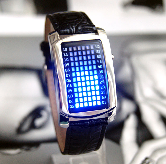 Free shipping . Led watch male strap cool colorful quality 72 lamp led watch male fashion men led watches(China (Mainland))