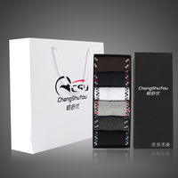 Gift box set socks male socks 100% cotton knee-high socks small square grid gift socks sports socks