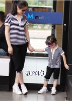 2013 summer hot  striped Family fitted suit mother and the mother of women 5pcs/lot free shipping(Light to sell children)