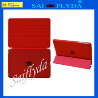 Free shipping 100sets/lot  Ultra Thin PU Leather case for iPad Mini Smart Cover with Stand  Front + Plastic Back Cover