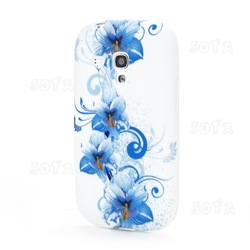 Blue Lily Flowers TPU Gel Frosted Case for Samsung Galaxy S III / 3 Mini I8190 free shipping(China (Mainland))