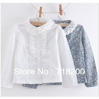 2013 spring casual lace collar girls floral flower blouses, baby kids blouses, girls shirts, children clothing free shipping