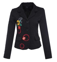 2013 spring Desigual black suit Ethnic the style jacket embroidery printing Shouxiu Korean spring shirt