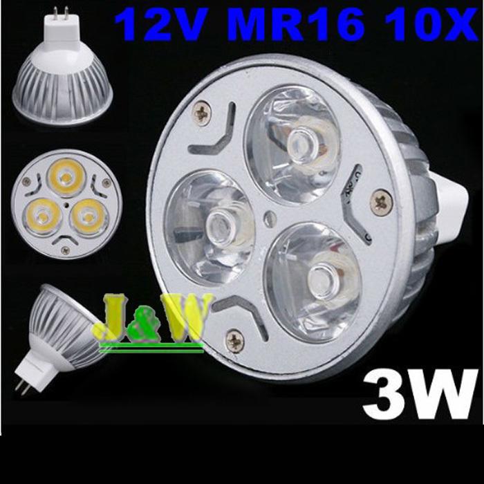 12V 3W MR16/GU5.3 White LED Light Led Lamp Bulb Spotlight Spot Light Free Shipping,10PCS(China (Mainland))