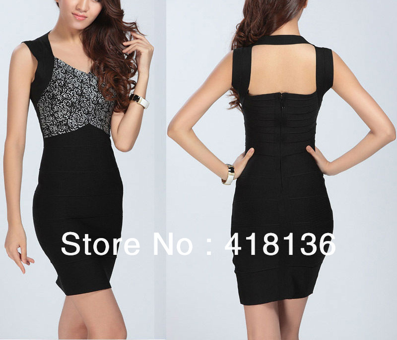 New arrival most attractive women black sexy backless slim bandage dress with factory price fashion party dress 2013(China (Mainland))
