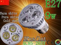 Free shipping 2pcs/lot Dimmable E27  GU10 E14 GU5.3 MR16 Rotundity Light 9W 3x3W High power Spotlight LED Bulb Lamp Lighting
