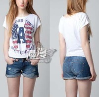 2013 New Summer Tops For Women Printing American Flag Wings Letters o-neck Short-sleeve Fashion T Shirt Women