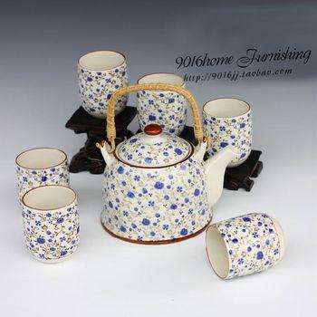 Jingdezhen ceramic mug tea set beam pot tea set double layer 7 anti-hot cup set