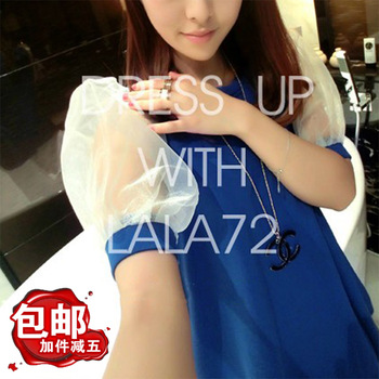 2013 spring sweet transparent lantern sleeve mid waist short-sleeve o-neck loose big skirt one-piece dress