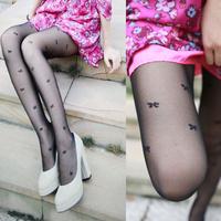 Fashion bag core stockings decorative bow pattern pantyhose stockings jacquard socks pants meat