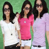 Puff sleeve t-shirt fashion slim elegant female short-sleeve 100% cotton top tight basic shirt